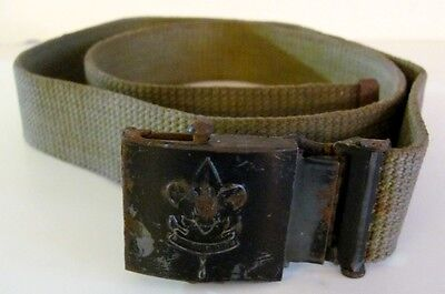 "Vintage WWII Boy Scouts Belt with Black Steel Buckle Green Tan Web 36"" long"
