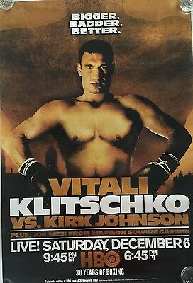 Vitali Klitschko vs Johnson  HBO Boxing Poster 12/6/03 Madison Square Garden MSG