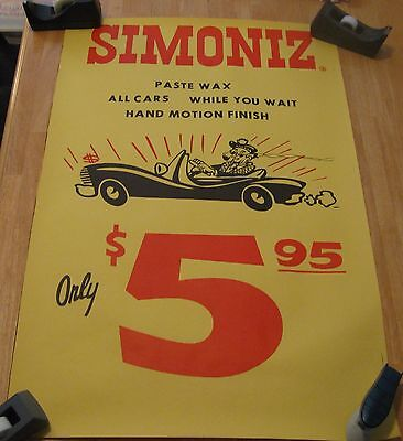 "Vintage 23 x 35"" Simoniz Paste Wax Your Car While You Wait  5.99 Poster"
