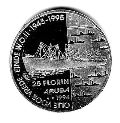 "1994 Silver Aruba Proof 25 Florin ""oil Tanker & Refinery"""