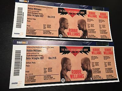 2 Biglietti ROBBIE WILLIAMS - Settore Prato - Verona 14-07-2017 SOLD OUT!!!!!