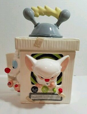 """Warner Brothers 1996 Animaniacs """"Pinky and the Brain"""" Ceramic Cookie Jar in Box"""