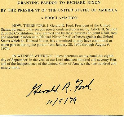 Nixon Pardon Signed By President Gerald R. Ford