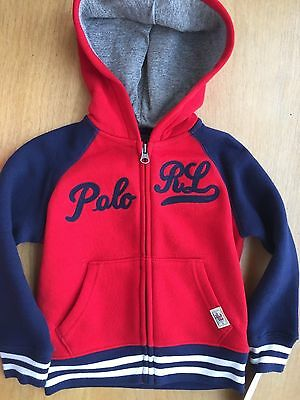 Polo Ralph Lauren Embroidered Full Zip Baseball Hoodie Sweatshirt 2T Boys $55