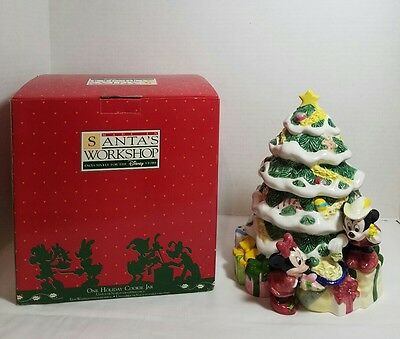 "Disney Store Santa's Workshop ""One Holiday"" Mickey Donald Pluto Tree Cookie Jar"