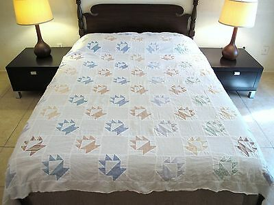 "Vintage Hand Sewn All Cotton BASKETS Quilt TOP; 85"" x 73"""