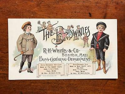 Palmer Cox THE BROWNIES R H White Clothing Advertising Card Boston MA