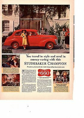1940 Studebaker Champion Automobile Car Bright Red vintage Print Ad