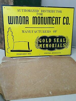 Rare 1940's WINONA MONUMENTS METAL SIGN MINNESOTA GRAVE UNDERTAKER FUNERAL GAS