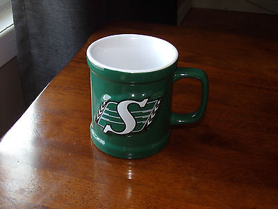 Saskatchewan Roughriders coffee tea mug CFL team cup Raised letters Green