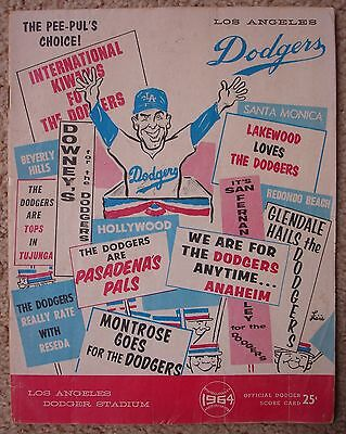 Los Angles Dodgers 1964 Official Dodger Score Card Record