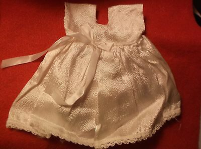 WHITE DOLL DRESS rose textured fabric, lace GINNY GINGER MUFFIE VIRGA