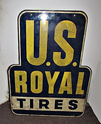 vintage 1940's double sided tin advertising sign us royal tires automobilia cars
