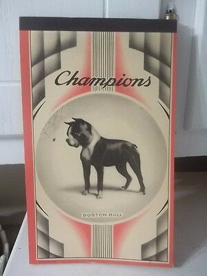 Vintage Champions Unused Boston Terrier Dog Notebook Composition Estate Find