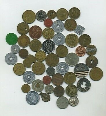 Misc  Lot Of 50 Assorted Tokens & Medals