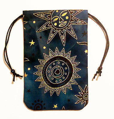 "Celestial Brilliant Star Tarot Bag 5""x7"" Drawstring Pouch Runes Crystals Dice"
