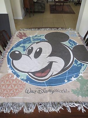 Disney One Park 4 Worlds Mickey Mouse  Woven Tapestry Throw Afghan Blanket