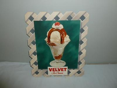 Vintage 1940s Original Velvet Ice Cream Cardboard Advertising Sign Prototype