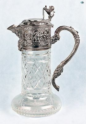 Fabulous Antique Victorian German Silver 925 & Crystal Angel Lion Wine Decanter