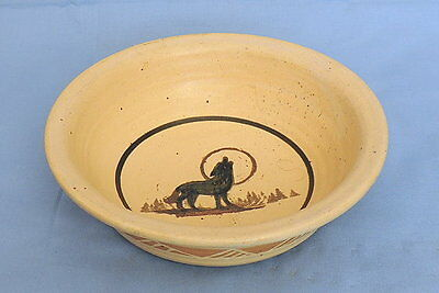 Dakots Stoneware Pottery Coyote/Wolf Cereal/Fruit Bowl