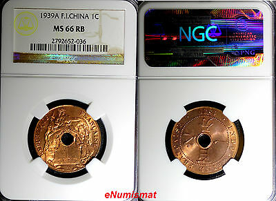 French Indo China,Colonial Vietnam Bronze 1939-A 1 Cent NGC MS66 RB BU  KM12.1