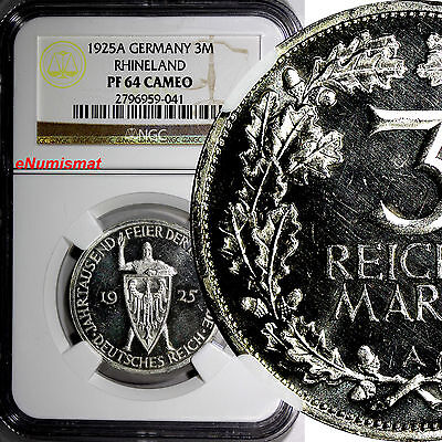 Germany, Weimar Republic Silver PROOF 1925 A 3 Reichsmark NGC PF64 CAMEO  KM# 46