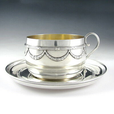 Large French Sterling Silver PUIFORCAT Chocolate, Coffee Tea Cup & Saucer 354.8g