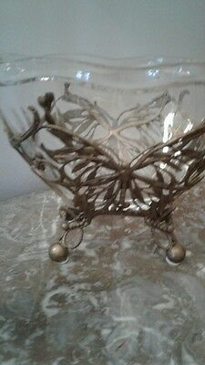 Vintage Heavy Crystal Bowl Brass Base Footed Italy Dragonfly Motif Table Decor