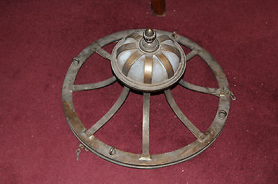 Antique Victorian Art Deco Gothic Bronze Metal Chandelier-Very Large & Heavy