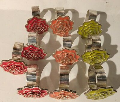 Set Of 10 Heavy Sterling Silver Floral Napkin Rings