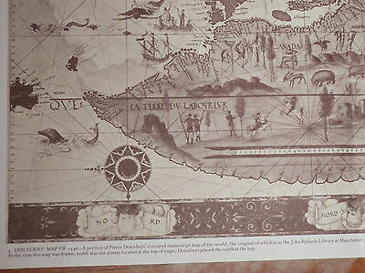 1546 Map of The WORLD by Desceliers showing SOUTH at the top