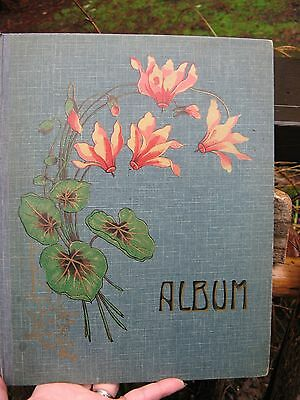 Victorian Era Post Card Album~book~empty~Cyclamen FLOWERS~1900~antique~Germany~
