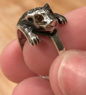 Vintage Sterling Silver Marcasite Ring Cat Wrap Around Ruby Eyes! MCM Size 8 925
