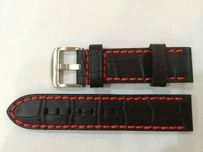 Watch Leather strap 22mm X 22mm Black with Red stitches mint in Condition