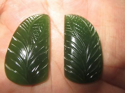 115.00cts serpentine leaf carving loose gemstone for pendant size 41x23 j-2