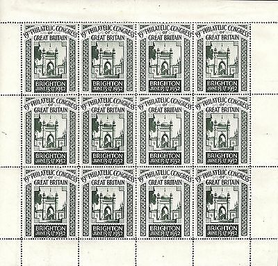 Full sheet of Green 1932 Brighton Philatelic Congress labels Perforated