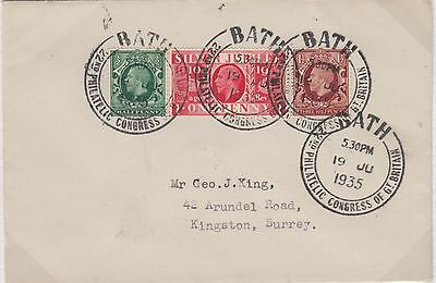 1935 Philatelic Congress Bath cover with KGV ½d green 1½d brown and 1d red