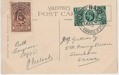 1935 Philatelic Congress Bath postcard of Bath Abbey and KGV ½d green with brown