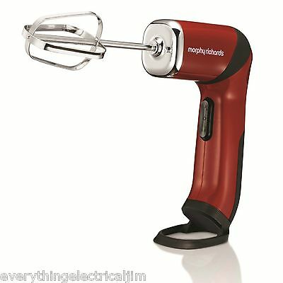 Morphy Richards 48405 3 in 1 Rechargeable Handheld Twisting Mixer Red Brand New