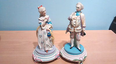"Vintage Pair of Parian/Bisque Hand Painted Figures in Period Costume.Stamped""AC"""