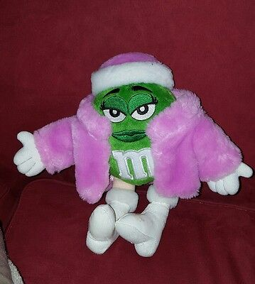 """Galerie plush green M&M in pink fur coat white boots 10"""""""