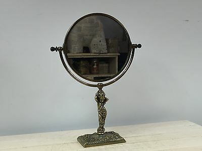 "Antique ""Art Nouveau"" Ornate Brass vanity mirror Dressing Table Mirror"
