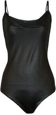 New Womens Black Pvc Wet Look Camisole Top Strappy Leotard Bodysuit Size 8-22