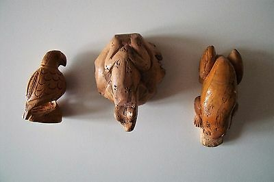 3 Small Wood Carved Animals