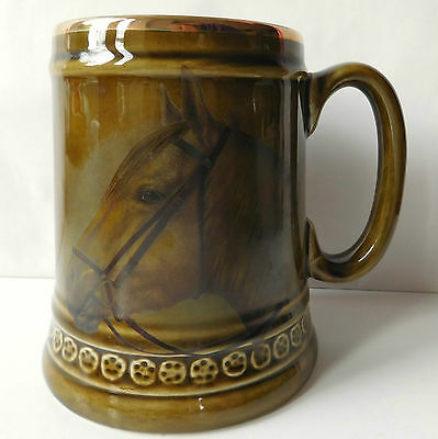 Horse tankard Lord Nelson Pottery Staffordshire Vintage 1970s Pint mug FLAWED