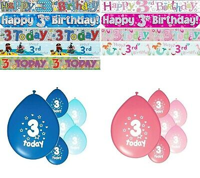 3rd BIRTHDAY PARTY BANNERS PINK & BLUE PARTY DECORATIONS THIRD BIRTHDAY BANNERS