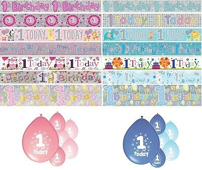 1st BIRTHDAY PARTY BANNERS PINK & BLUE PARTY DECORATIONS FIRST BIRTHDAY BANNERS