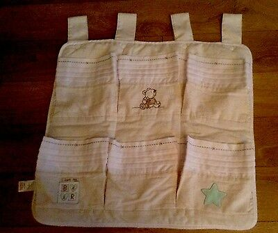 Nursery Baby Cot Tidy Organiser for Cot/ Cot Bed i love my bear, Good Condition
