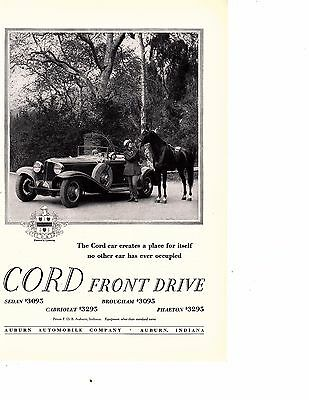 1929 Cord Car Ad with  Horse - Cord Front Drive auburn indiana