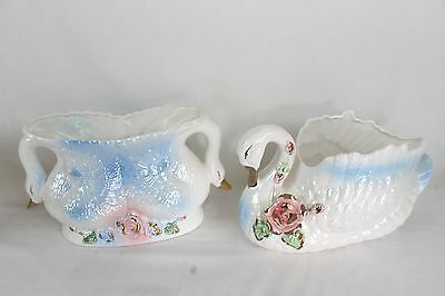 2 Vintage Large Decorative Ceramic Swans Lot Collectable Flower M.S. Taiwan Old